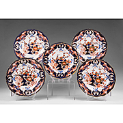Set of 5 Derby Imari Dinner Plates, 1800-25, King's Pattern