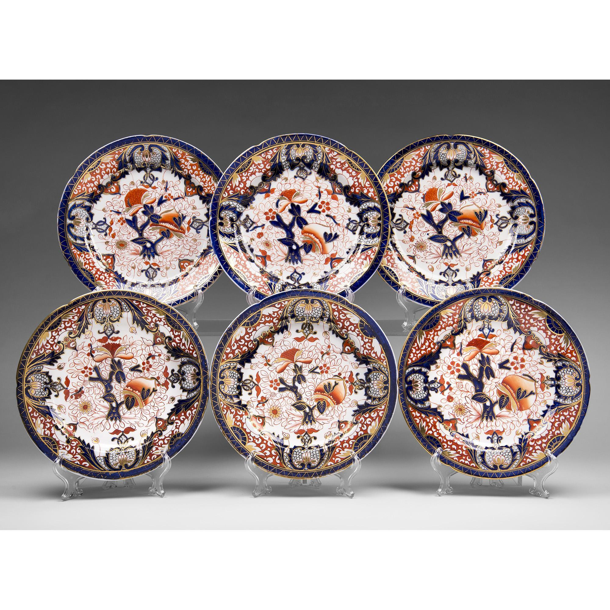 Set of 6 English Ironstone Imari Dinner Plates, 19th C