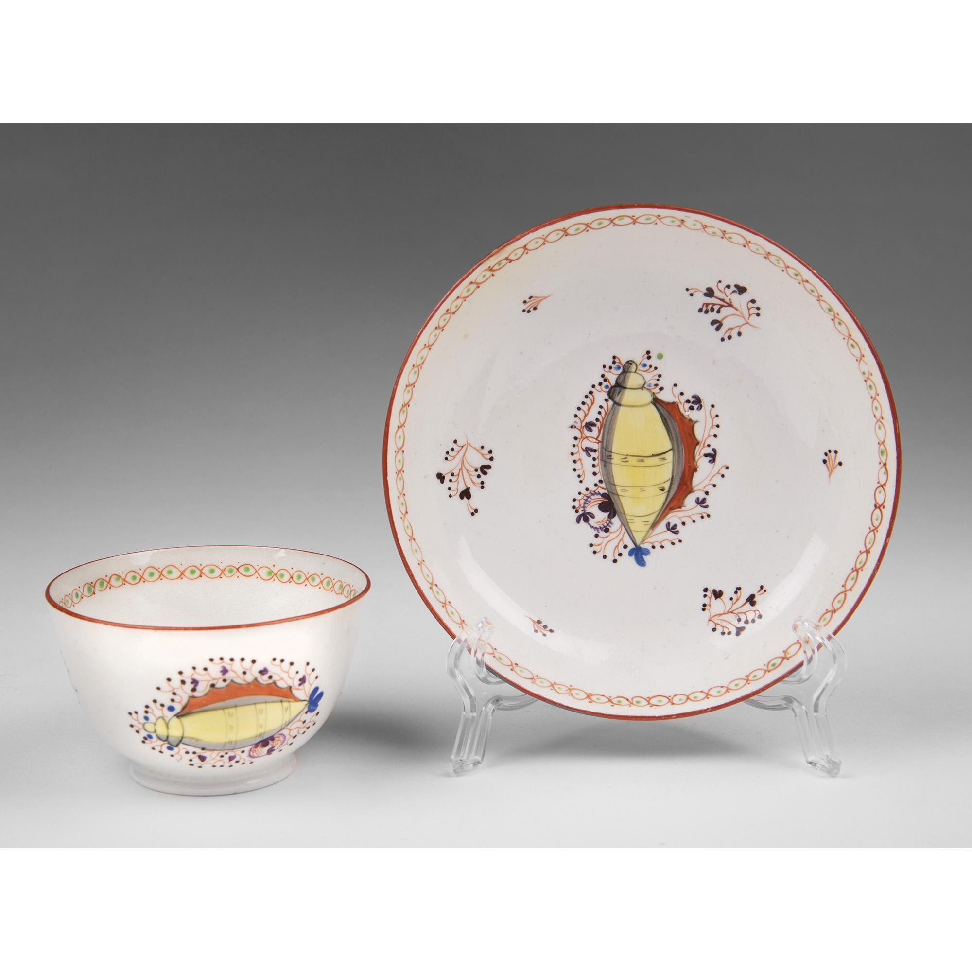 1800 Staffordshire Creamware Tea Bowl & Saucer With Shell Motif