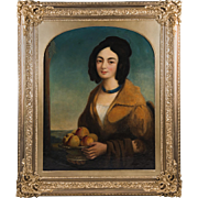 Early 19th C. Oil On Canvas Portrait Of American Creole Gentlewoman
