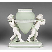 Minton Glazed Parian Celadon Ground Vase w Putti
