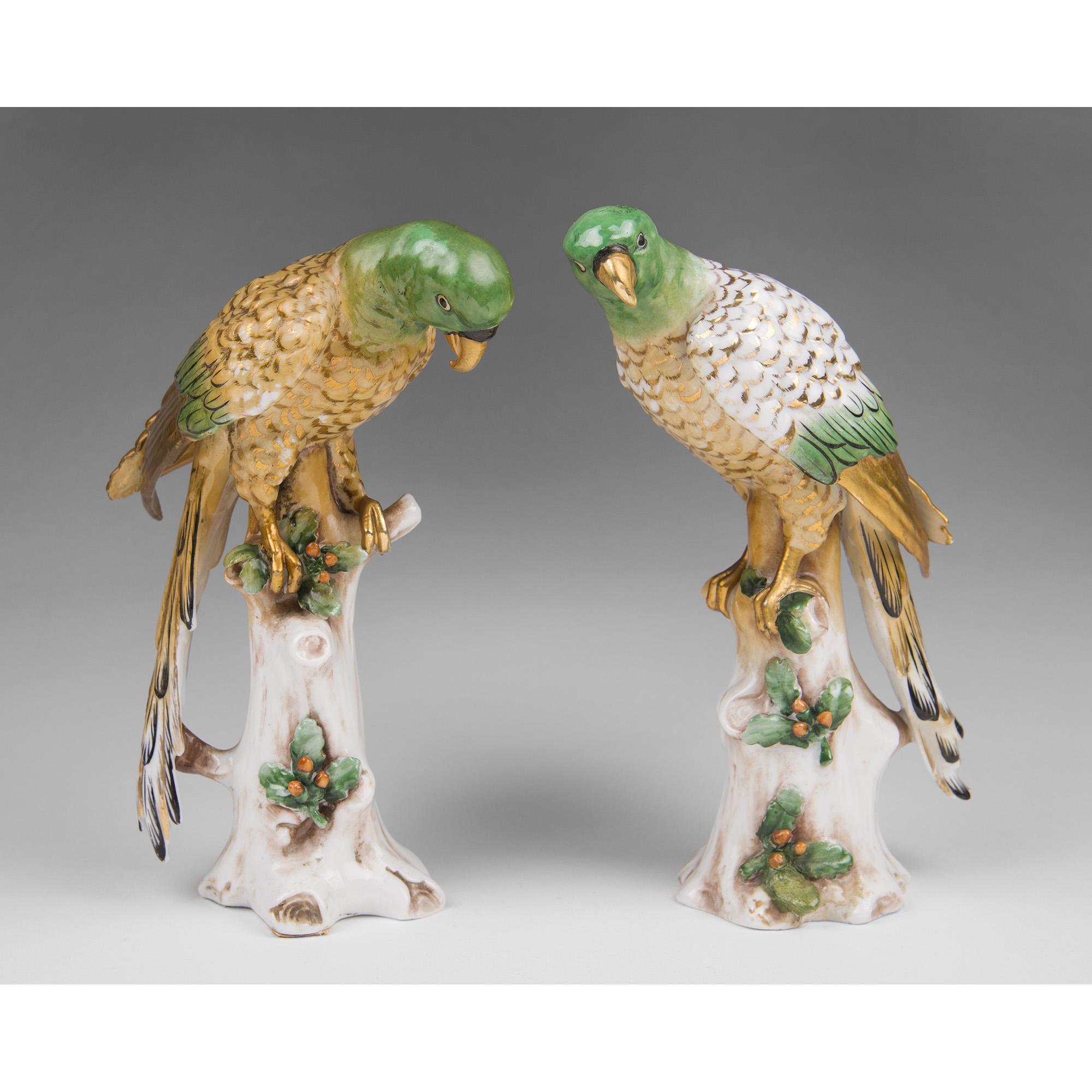Pair of Late 19th C. Samson Porcelain Parrots, Gold Anchor Mark