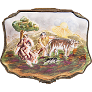 Late 19th C. German Porcelain Capodimonte Bas Relief Trinket Box