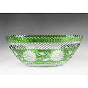 Vintage Hungarian Ajka Green Cut To Clear Crystal Oval Bowl