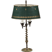 French Brass Spiral Twist Bouillotte Lamp With Tole Shade