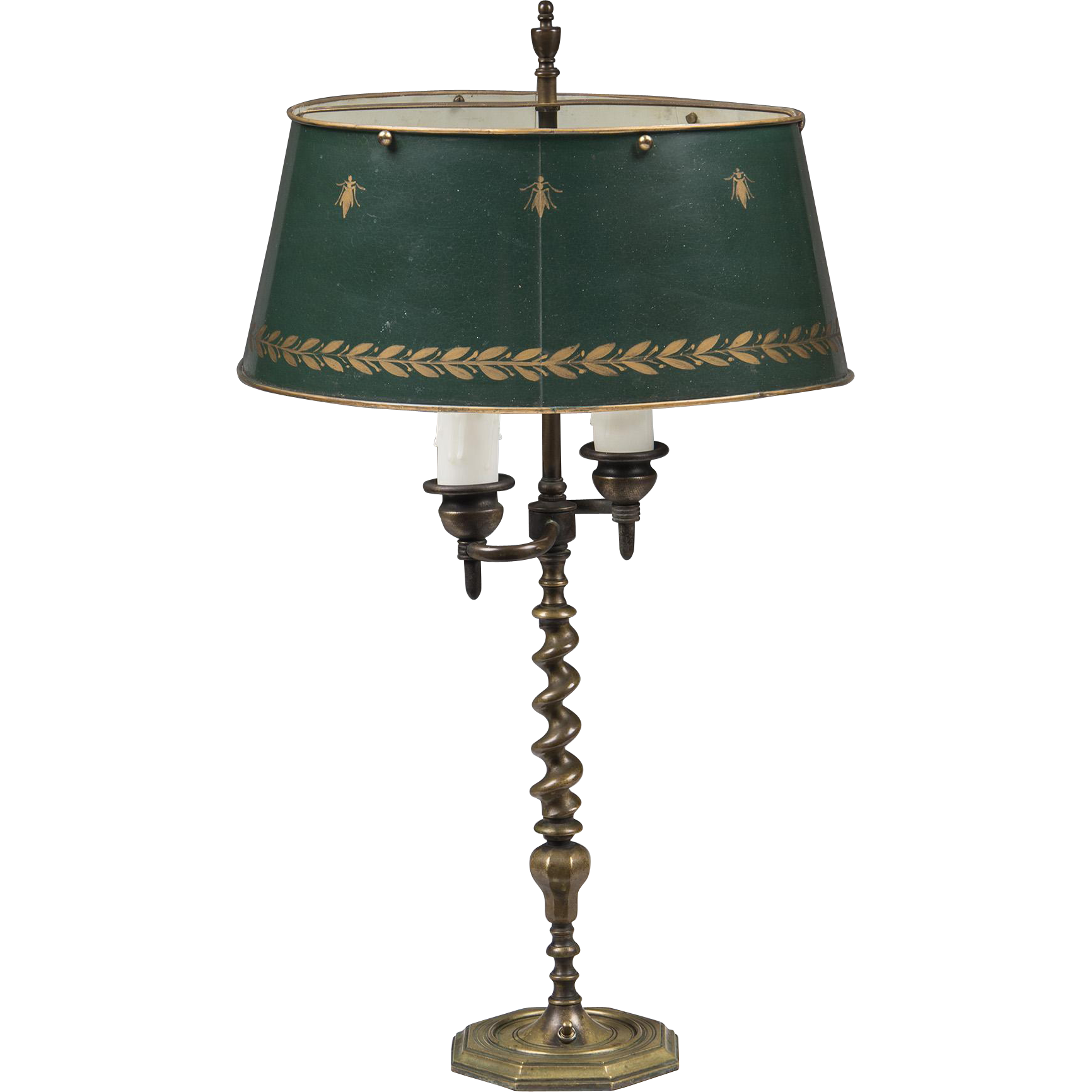 French Brass Spiral Twist Bouillotte Lamp With Tole Shade from ...