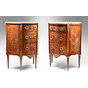 Companion Pair of 19th C. Regence Demilune French Commodes