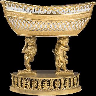 1815 Sevres Reticulated Centerpiece Corbeille Basket Raised On Bronze Base