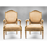 Pr. Of Late 19th C. Giltwood Carved Louis XVI Style Fauteuils Or Armchairs