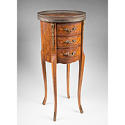 Mid 20th C Petite Louis XV French Side Table Or Commode With Inlays