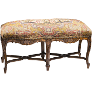 19th C. Louis XV Hand Carved Fireside Bench With French Needlepoint and Petit Point Tapestry
