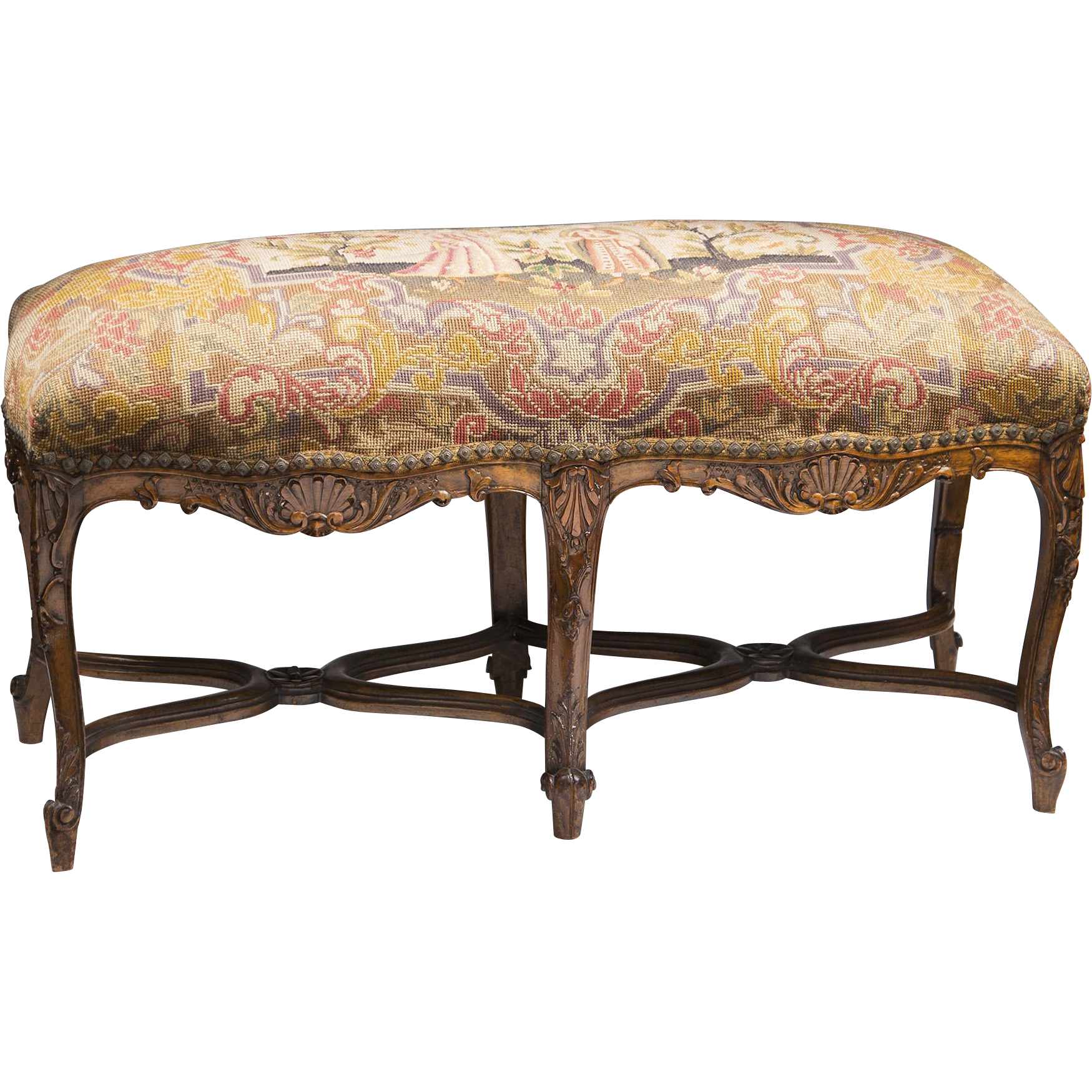 Th c louis xv hand carved fireside bench with french