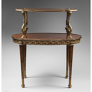 Mid 20th C. Louis XVI Style Marquetry Two Tiered Pastry Or Tea Table
