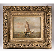 19th C. Dutch Oil Painting On Canvas Of Seascape
