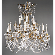 Mid 20th C. Signed Baccarat Crystal 18 Light Tiered Chandelier