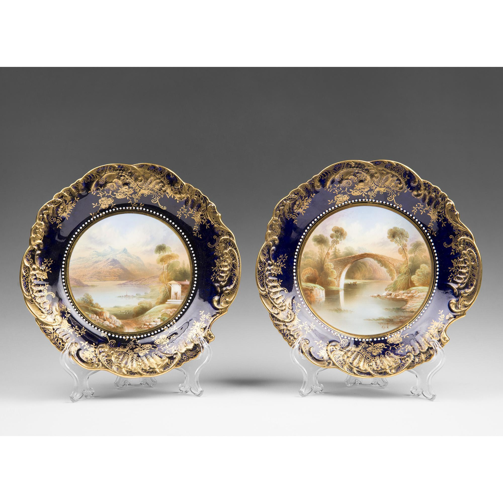 Pair of 19th C. Named Scene Cabinet Plates by Aynsley