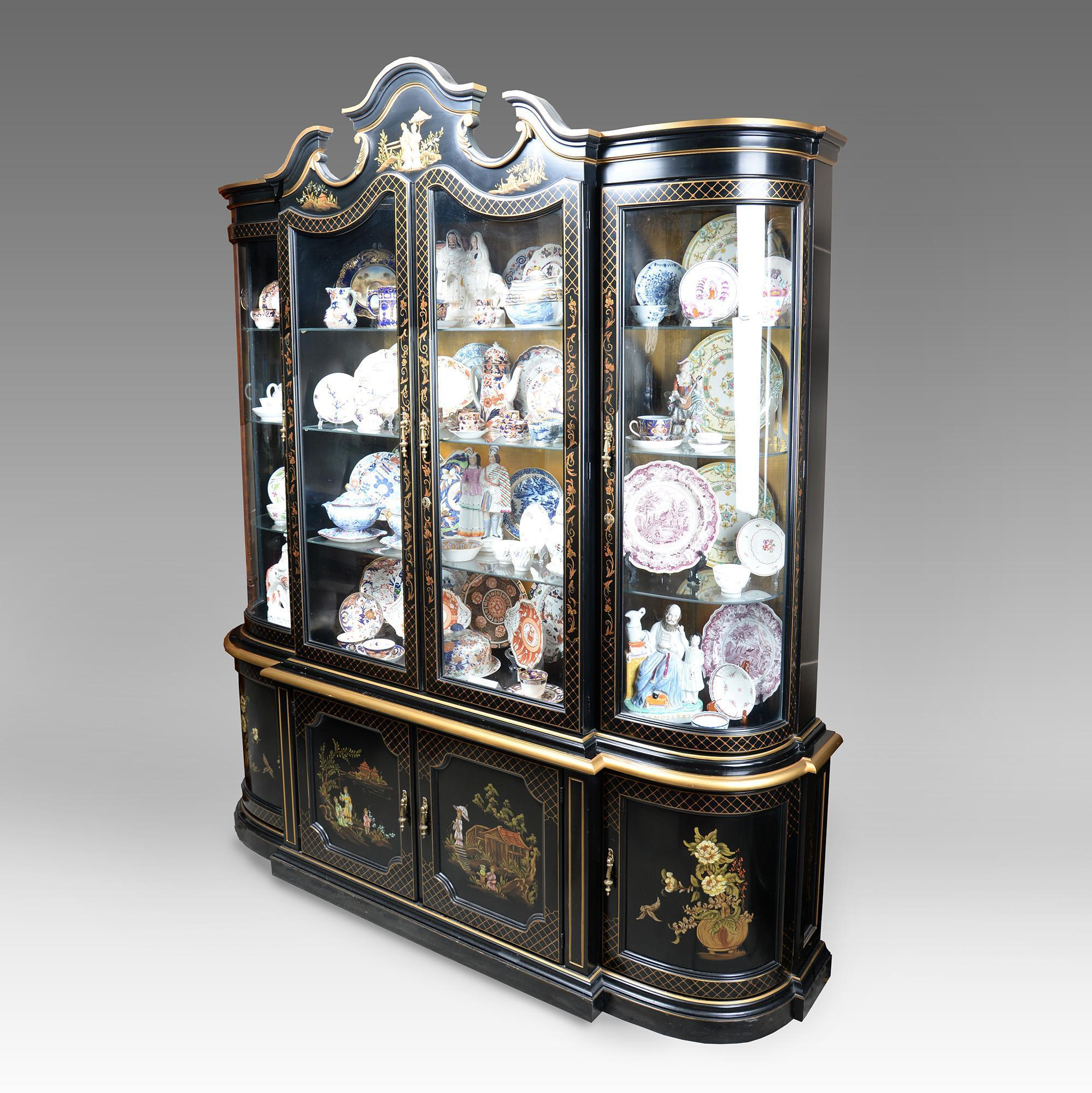 Mid Century Black Lacquer China Cabinet With Four Doors Pia S Antique Gallery Ruby Lane