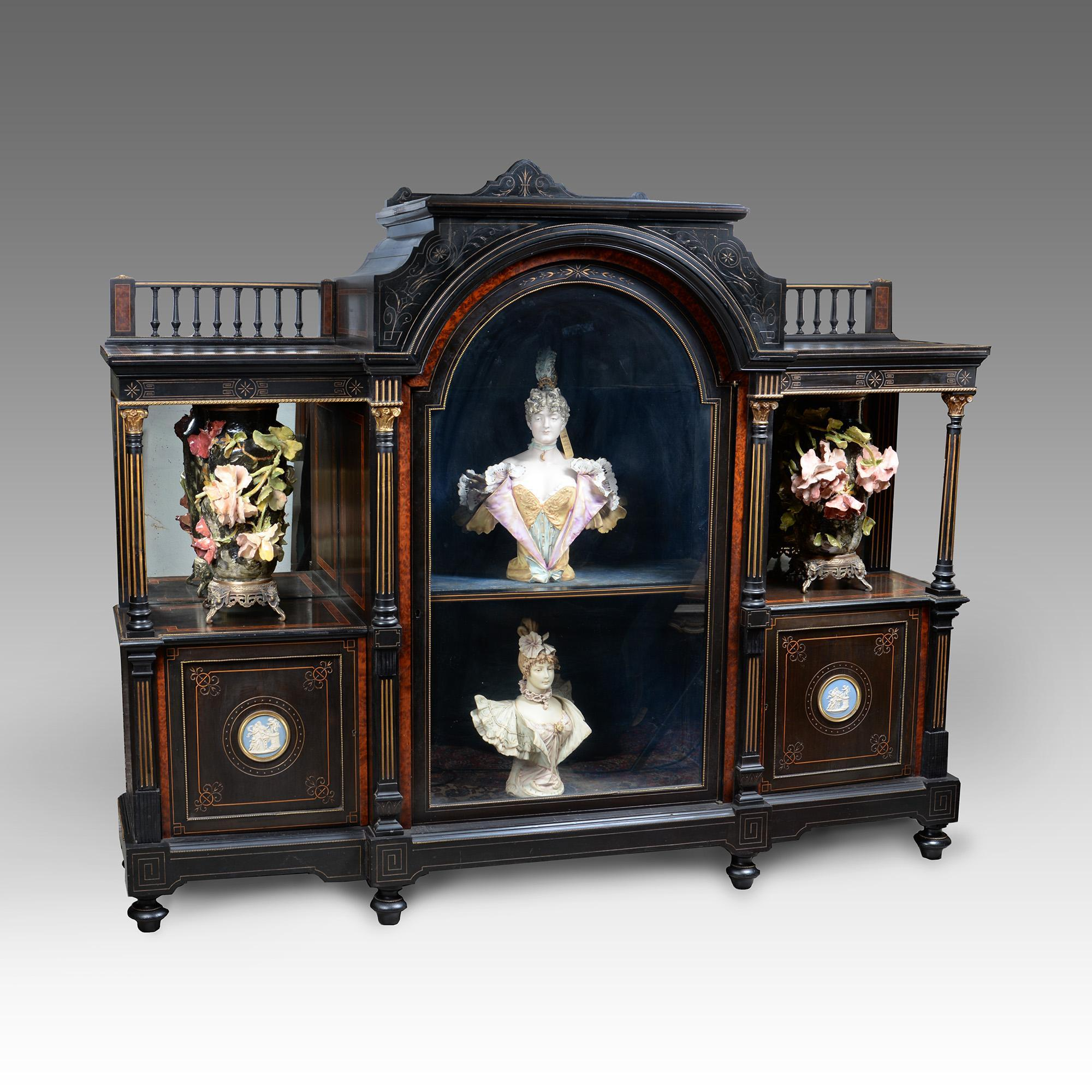 19th C. Victorian Amboyna & Ebony Credenza With Wedgwood Plaques