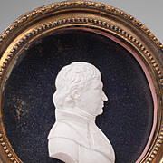 Early 19th C. Paste Portrait Medallion of Gentleman Framed Under Glass