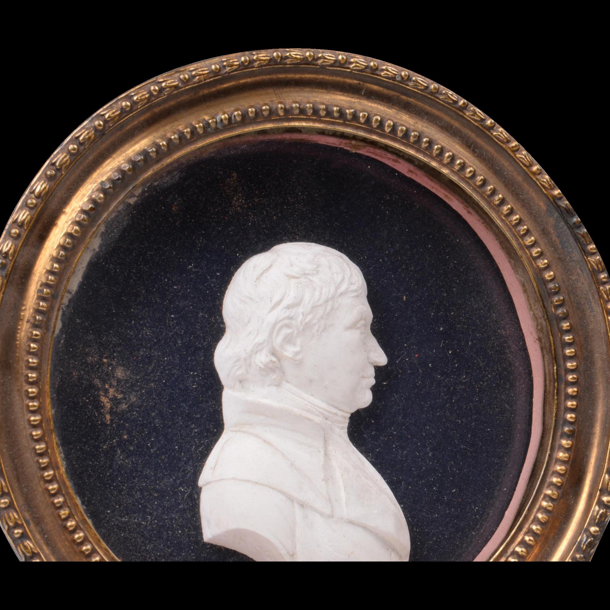 Early 19th C. Paste Portrait Medallion of Gentleman Framed Under Glass