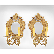 Pair of Vintage Brass Mirrored Sconces With Two Lights
