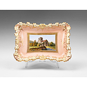 "1840 Chamberlains Worcester Dish Or Card Tray, ""Little Malvern"""