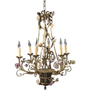 French Six Arm Bronze Chandelier Fitted With Porcelain Flowers, Basket Form