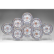 Set of 8 Chinese Export Style French Armorial Plates By Edme Samson