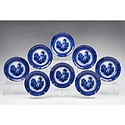 Set Of Eight Burgess & Leigh Flow Blue Italia Pattern Plates