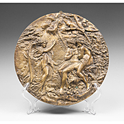 19th C. Bronze Cast Bas-Relief French Roundel Of Adam & Eve