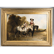 Primitive Continental Oil On Canvas Of Mother And Child On Horseback