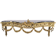 19th C. Finely Cast French Ormolu Wall Console With Marble Top