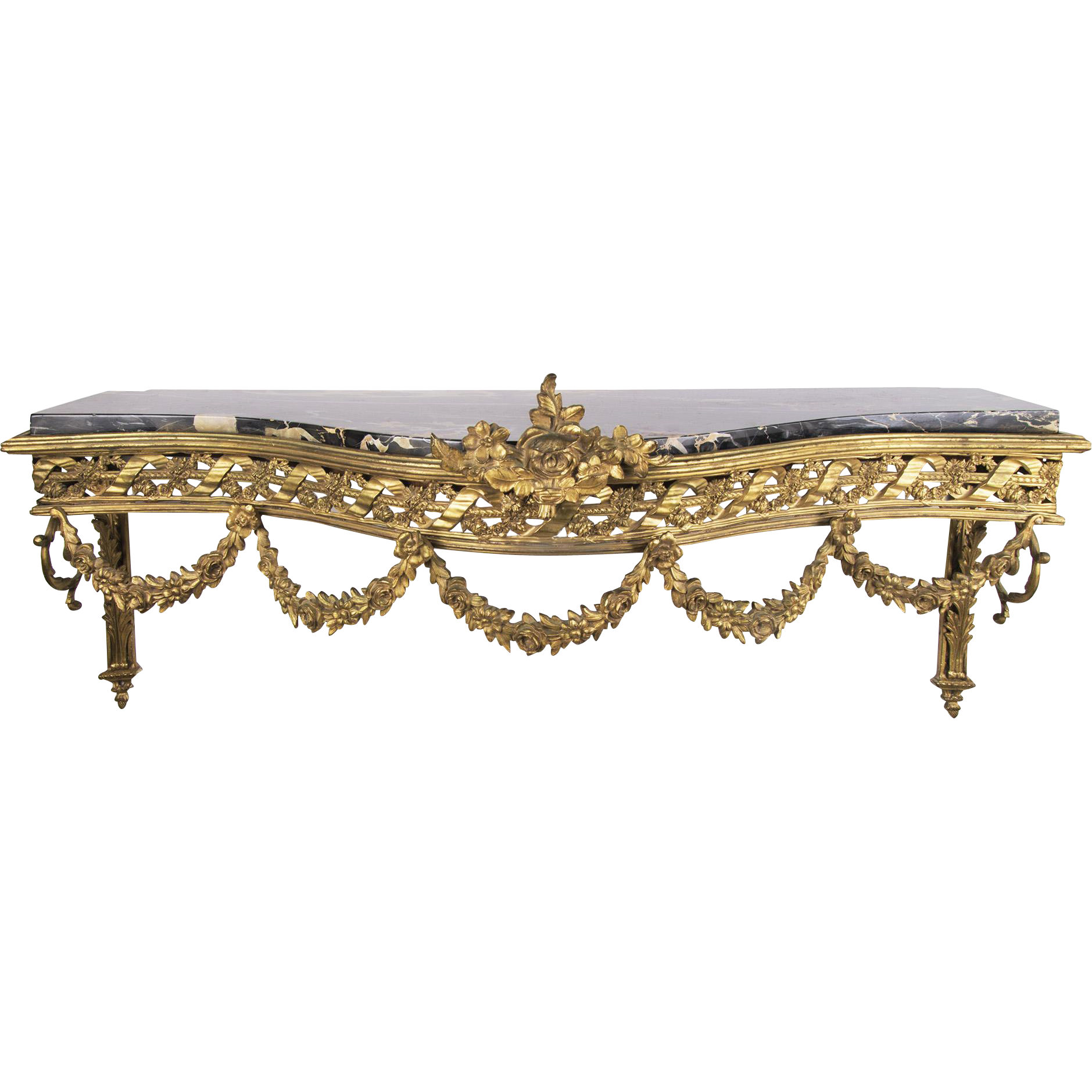 19th C. French Finely Cast Bronze Wall Console With Marble Top