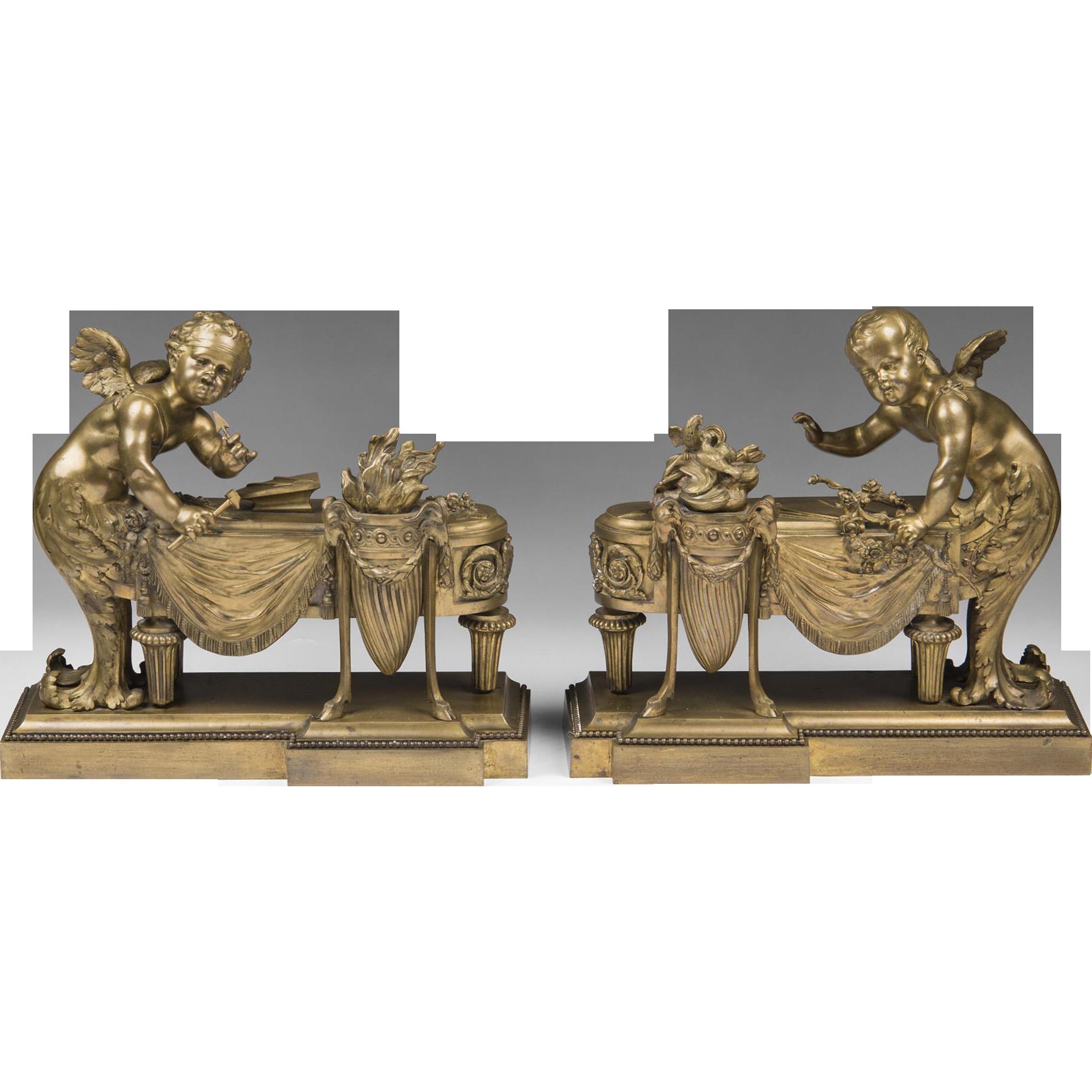 Pair of 19th Century Louis XV Bronze Chenets, Cherub In Merbaby Form