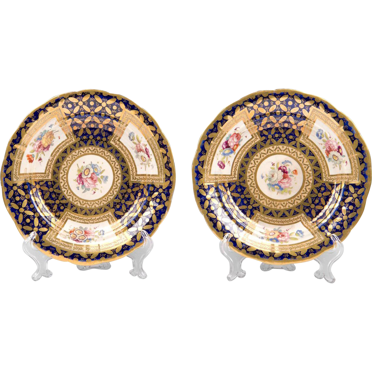 Pair of Early 19th C. Cobalt Botanical Hand Painted Dessert Dishes