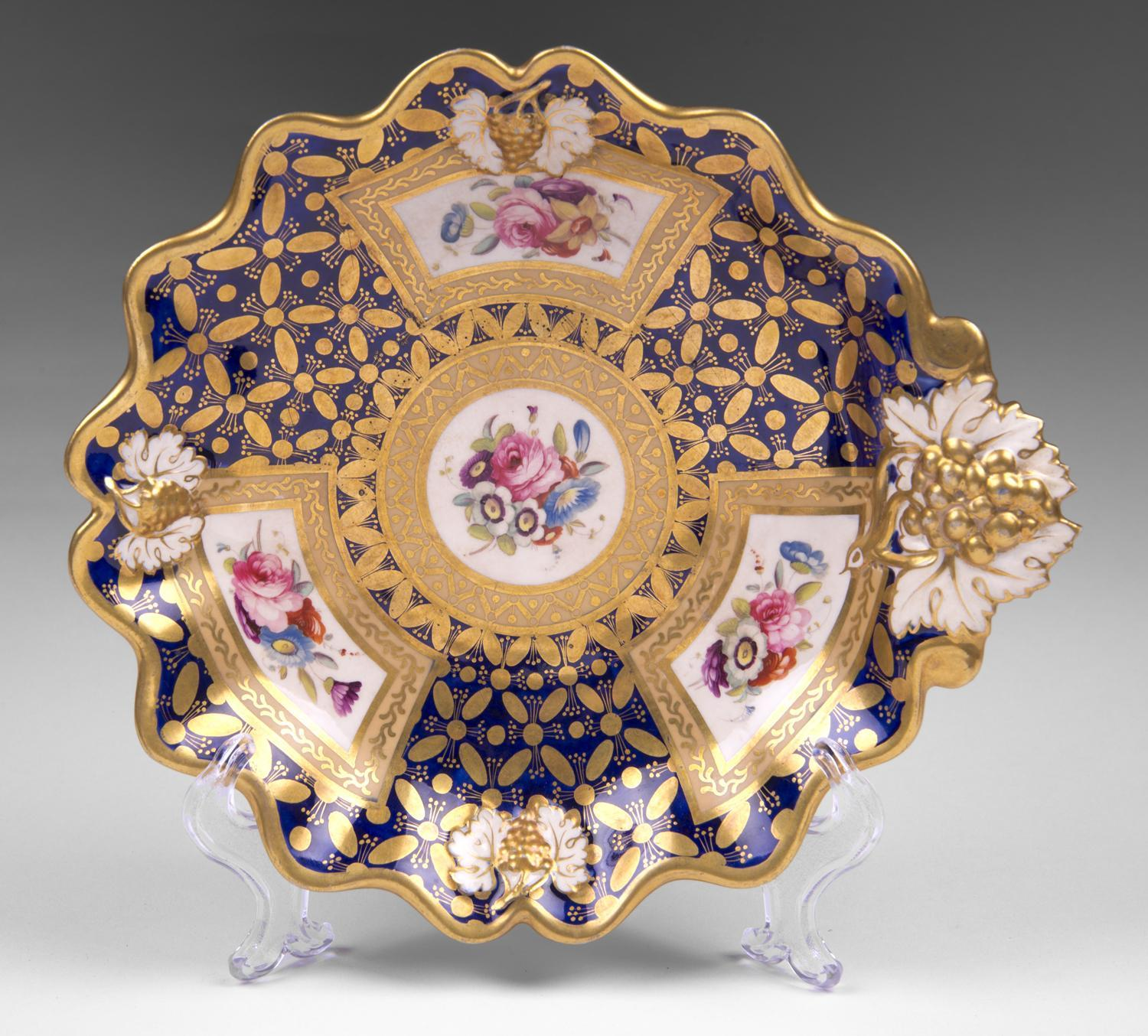 Early 19th C. Cobalt Botanical Hand Painted Dessert Dish