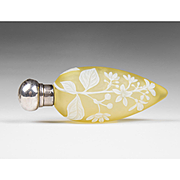 Thomas Webb Lemon Cameo Glass Lay Down Scent Bottle