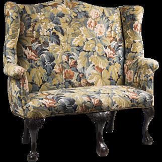 SALE 18th C. Irish Georgian Porter's Bench With Needlepoint Upholstery