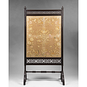 Period English Aesthetic Movement Floor Screen, Japanese Silk Insert