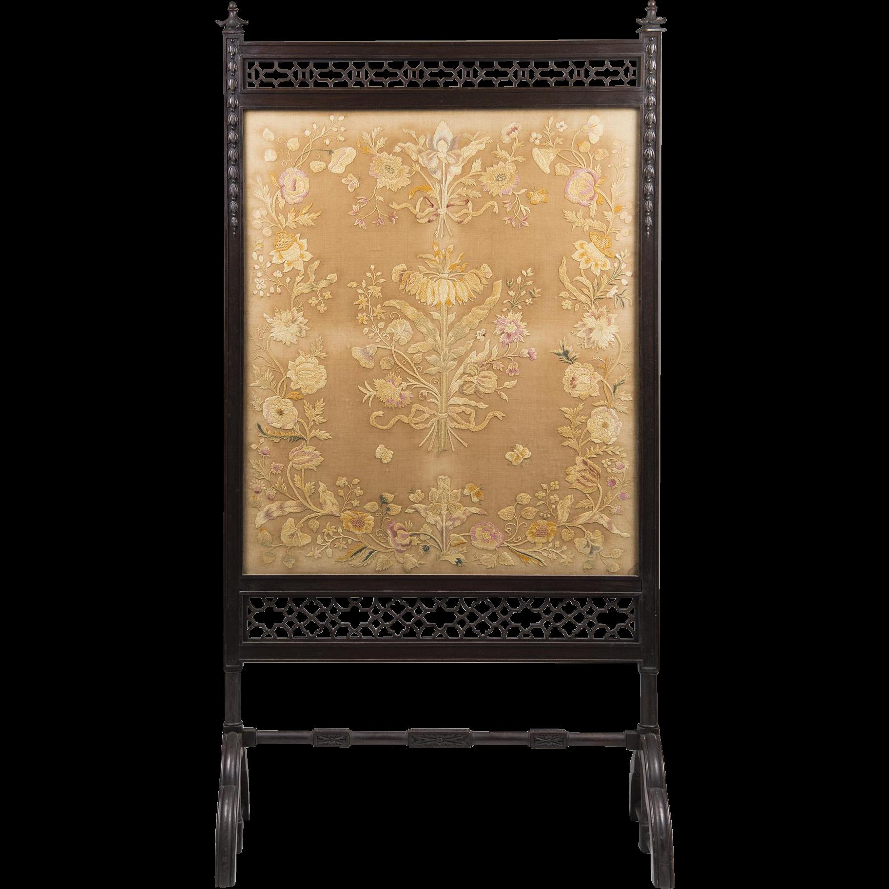 Period English Aesthetic Movement Floor Screen, Japanese Silk Insert