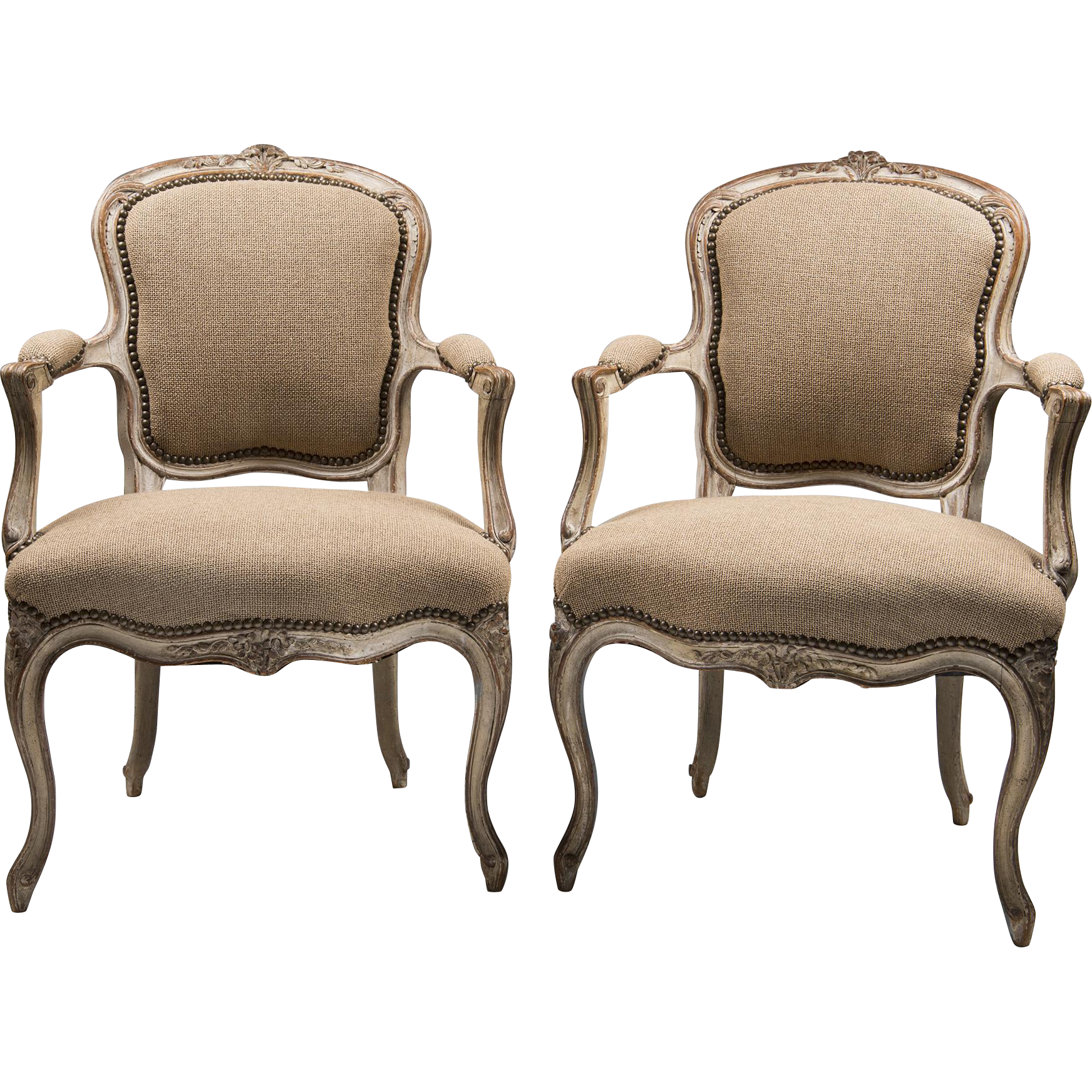 Pair of 19th C. Louis XV French Beechwood Painted Fauteuils
