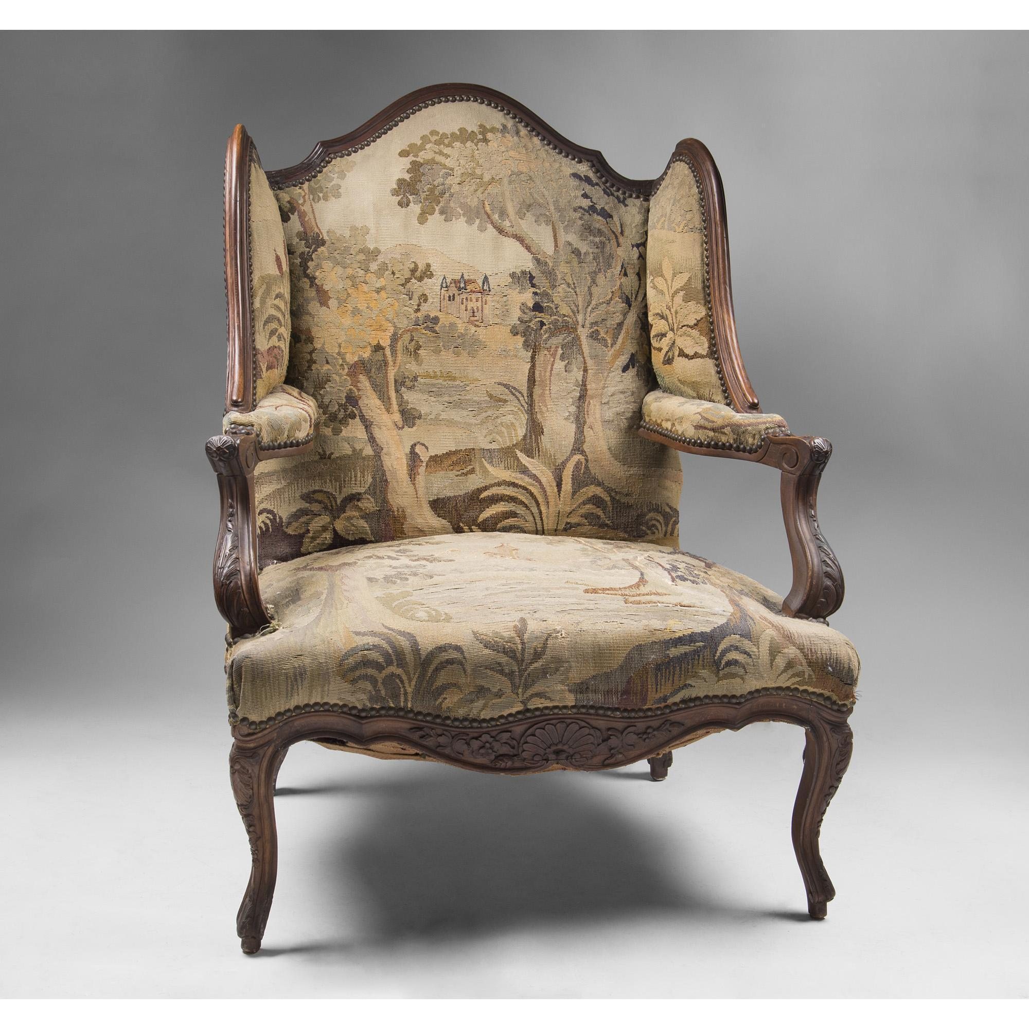 early 19th c french walnut louis xv fauteuil en confessionnal or from piatik on ruby lane. Black Bedroom Furniture Sets. Home Design Ideas