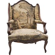 French Walnut Louis XV Fauteuil en Confessionnal Or Armchair