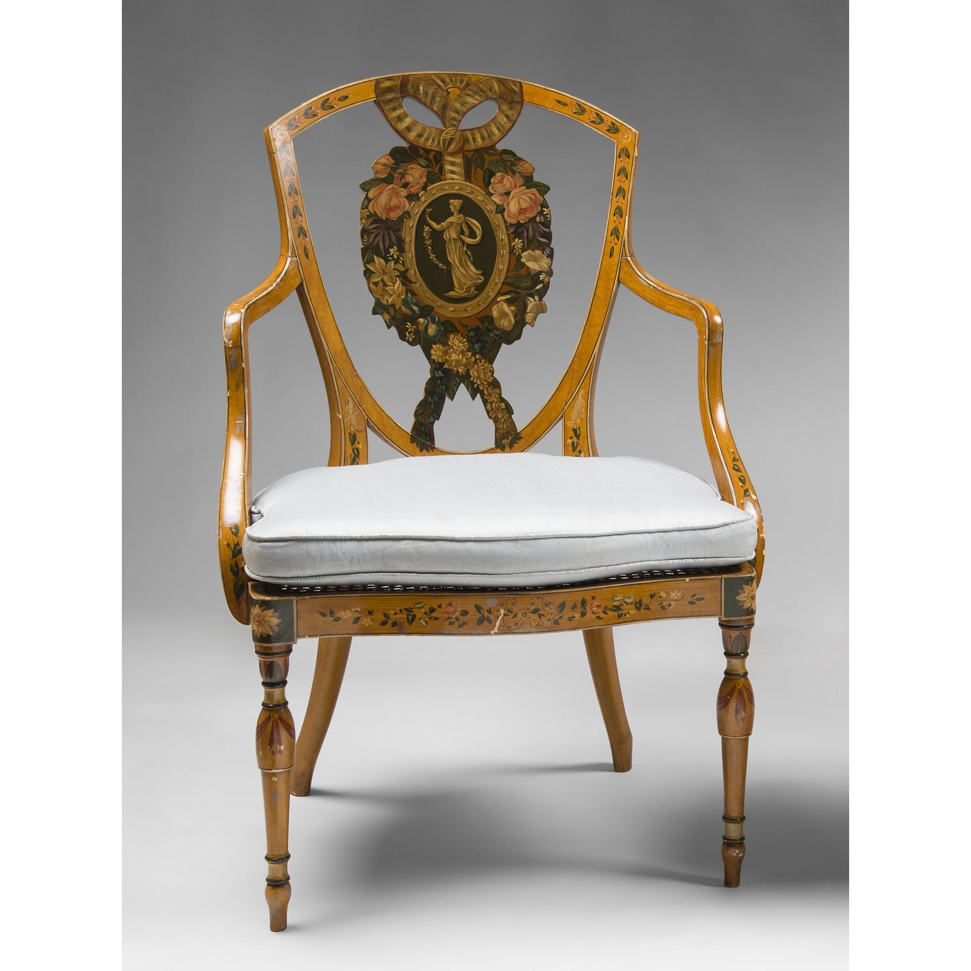 Pair of Early Edwardian Satinwood Painted Shield Back Armchairs