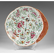 Chinese Export Porcelain Famille Rose Celadon Shrimp Dish