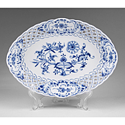 Blue Onion Pattern Meissen Reticulated Lozenge Shaped Bowl