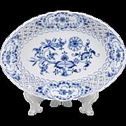 Blue Onion Pattern Meissen Reticulated Lozenge Shaped Bowl