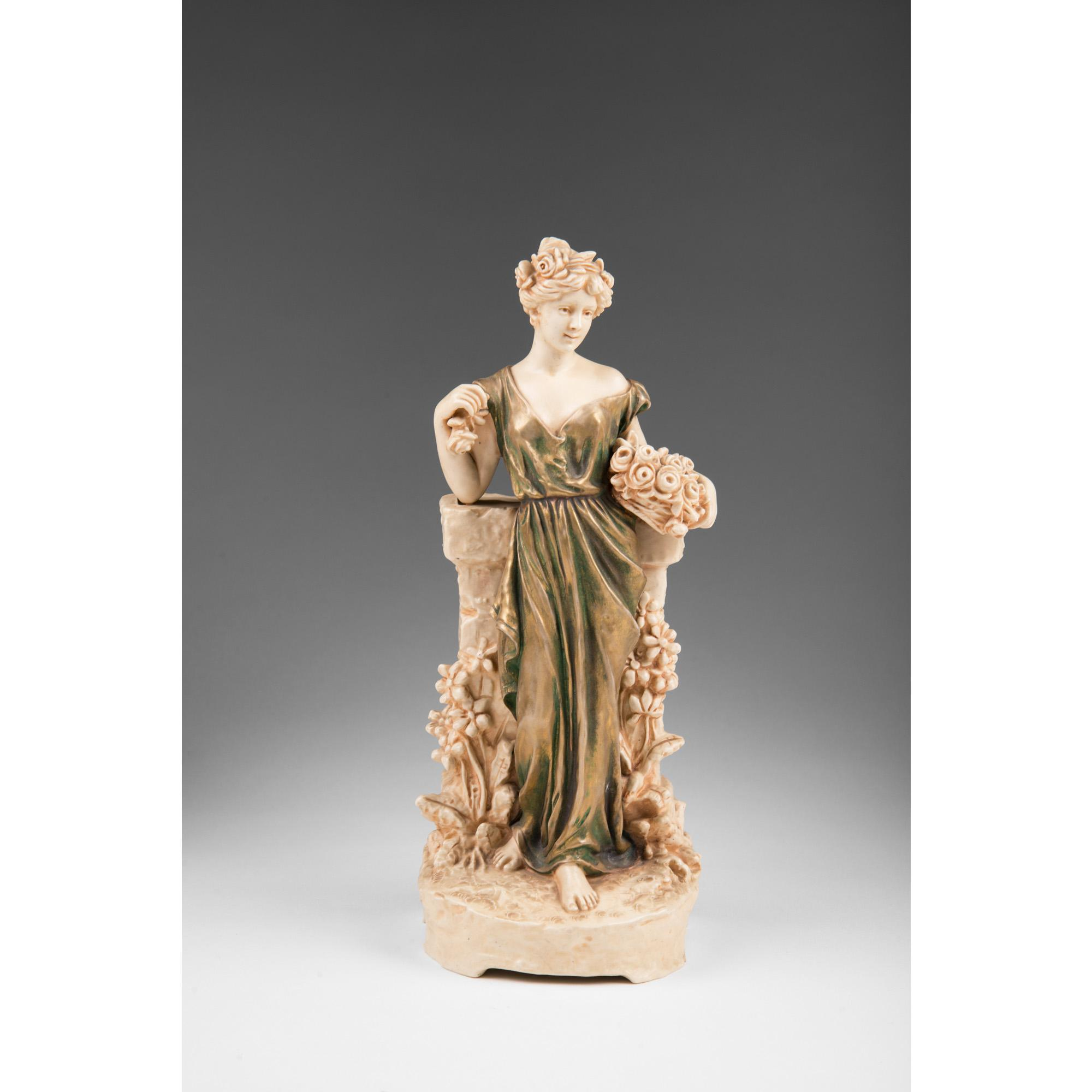 Austrian Teplitz Style Porcelain Spill Vase Of Lady, Iridescent Glaze