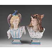 Pair Of 19th C. German Bisque Busts With Peacock And Wolf Headdress