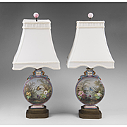 Pair of French Enamel Moon Flask Vases Fitted As Lamps